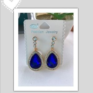 Blue Diamond Fashion Earrings! NWT